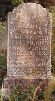 Gravestone - Mary Bethany Callaway Geer