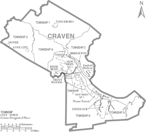 Map of Craven County North Carolina With Municipal and Township Labels