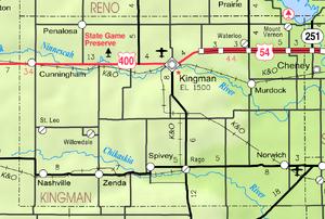 Map of Kingman Co, Ks, USA