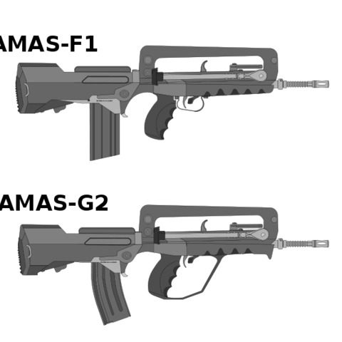 A comparison between the FAMAS G1 and The FAMAS G2. Note the Handle Guard and the curved magazine on the G2