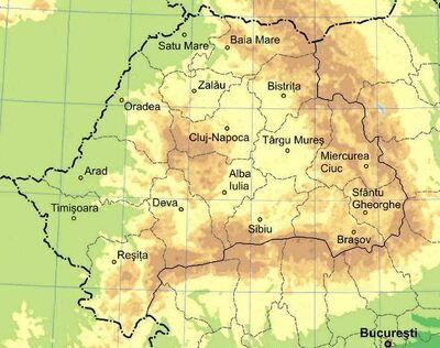 Physical map of Transylvania