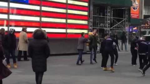 Darren Criss and Chord Overstreet filming Glee