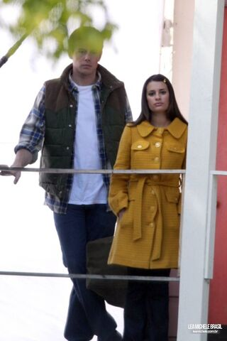 File:Lea & Cory filming Glee, March 25th. Lea's lookin at the camera and is like- the fuck you lookin at and cry's just like.. himh.jpg