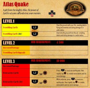Atlas Quake - attacks