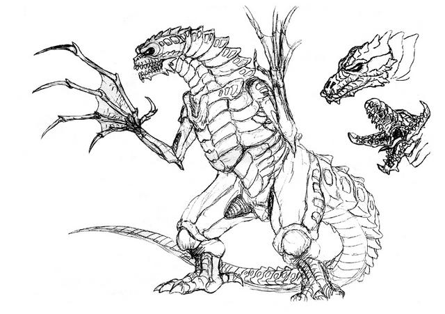 File:Concept Art - Godzilla 2000 Millennium - Orga 80.png