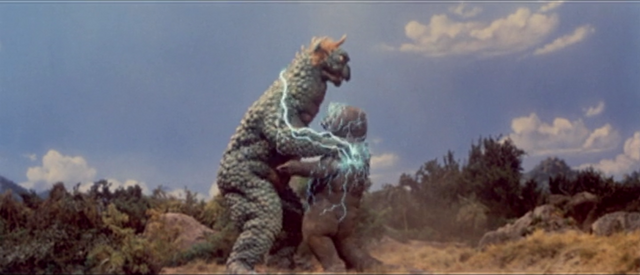 File:All Monsters Attack - Gabara used NUZZLE! Its super effective! Minilla is paralyzed!.png