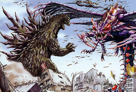 File:Concept Art - Godzilla vs. Megaguirus - Godzilla and Griffon vs. Megaguirus.png