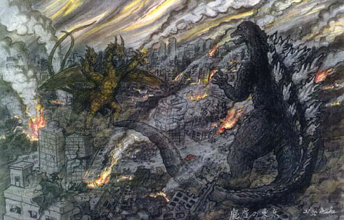 File:Concept Art - Godzilla Final Wars - Godzilla vs. Keizer Ghidorah.png