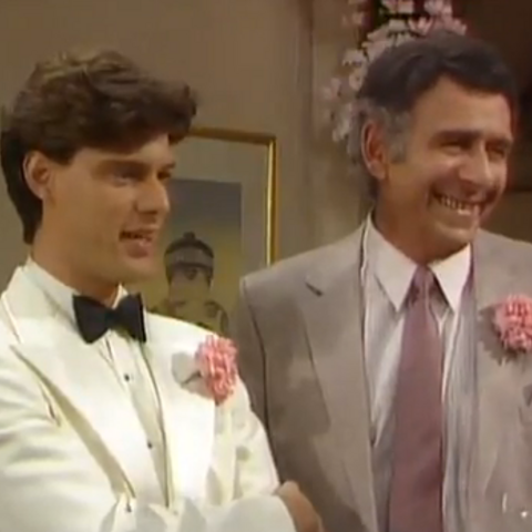 Dennis Drake as the younger Dennis with his father in-law, <a href=