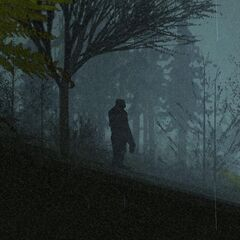 Bigfoot on a hill during a storm.