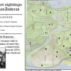 GTA SA map of Bigfoot sightings & footprints.