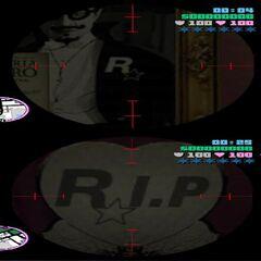 Rockstar signs at the Funeraria Romero shop