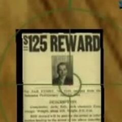 Portrait of a plausible Forelli Family criminal, reading <i>125$ Reward</i>, at Saint Marks.