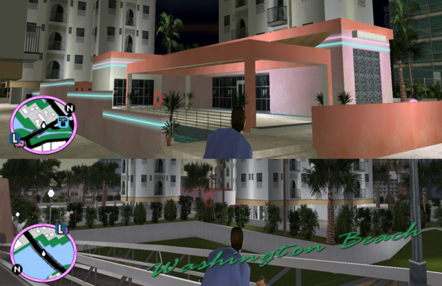 File:GTAVC HiddenPack 16 NW corner of S lap pool patio centered in pink towers, S of StarView Heights construction site.png