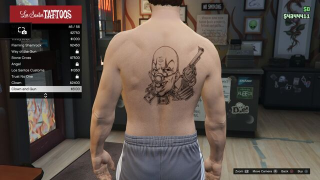 File:Tattoo GTAV Online Male Torso Clown and Gun.jpg