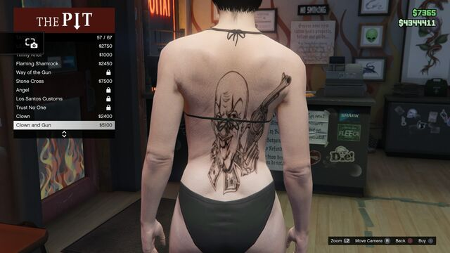 File:Tattoo GTAV-Online Female Torso Clown and Gun.jpg