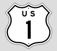 1957 Style US Route 1 Shield