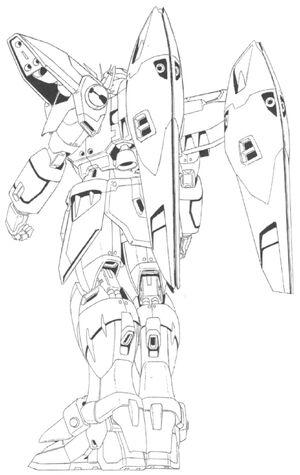 XXXG-00W0 Wing Gundam Zero Back View Lineart
