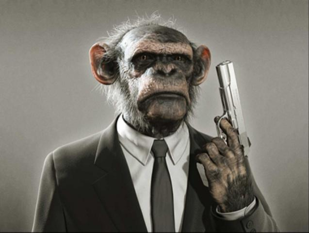 File:Monkey in Suit, with Gun.jpg