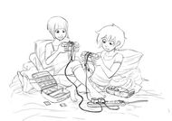 Sketch of Paz and Kat Playing Video Games
