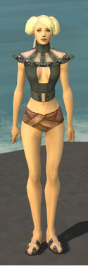 Monk Obsidian Armor F gray chest feet front