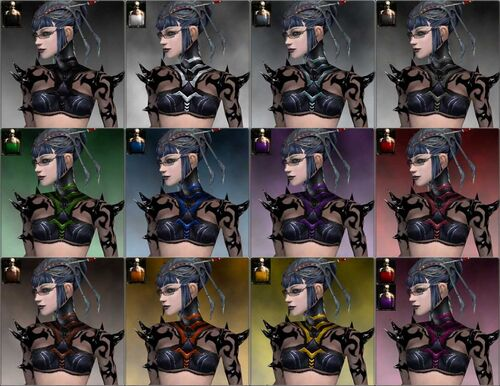 Necromancer Obsidian Armor F dye chart