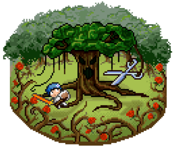 The tree, amidst a forest, wears an angry face as it holds a large pair of shears in its vines and holds a character in its roots.