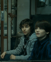 James and Albus in the Hogwarts Express