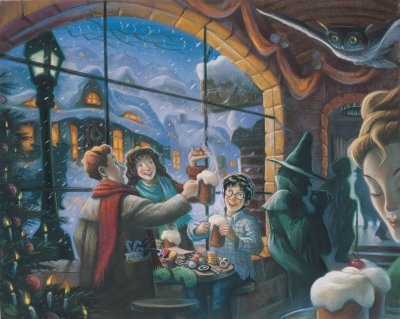 harry potter trio christmas at three broomsticks