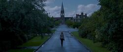Hermione walking alone (possibly to their homeplace or in Godric's Hollow)