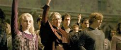 Ron, Luna, & Pomfrey raise wands