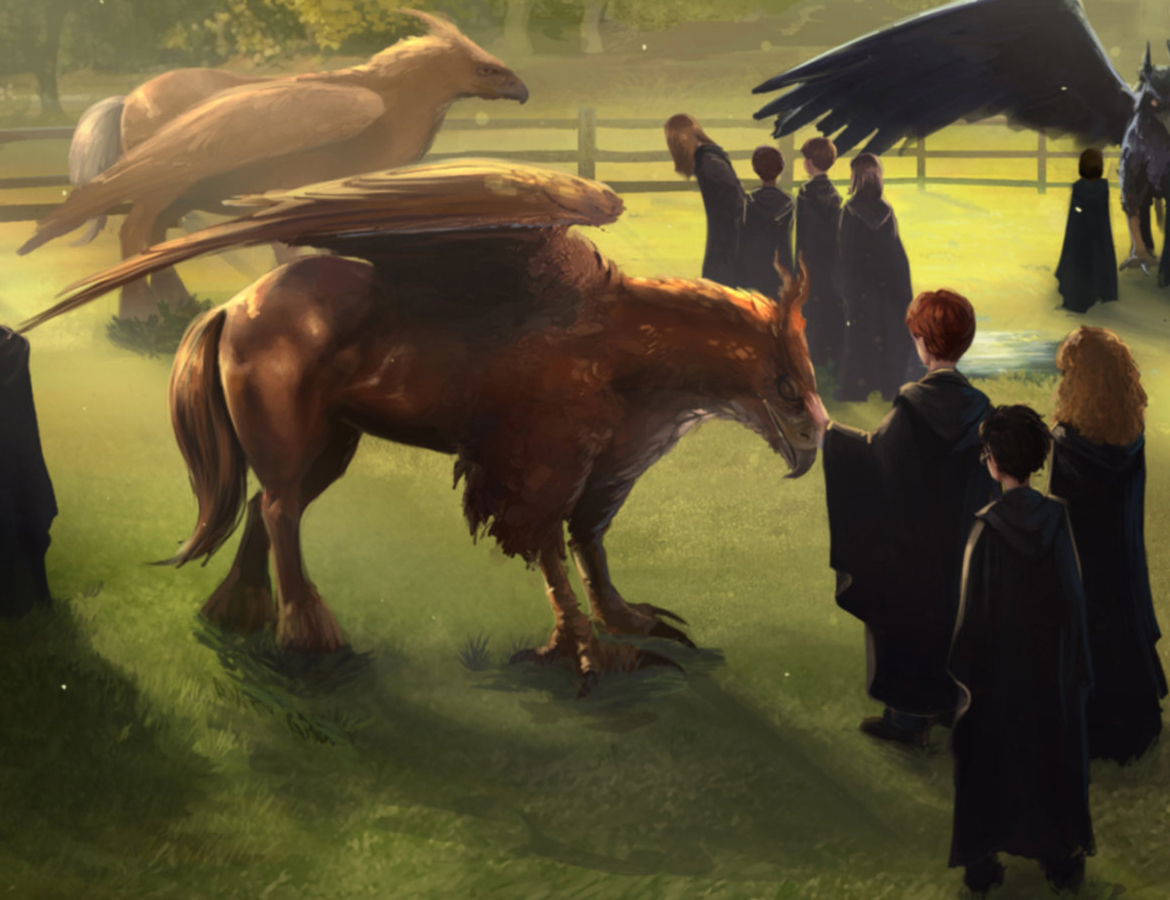 Trio and hippogriff