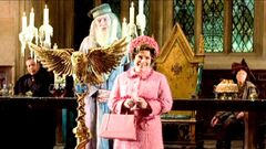 Dolores Umbridge making her introduction speech during the Welcoming feast