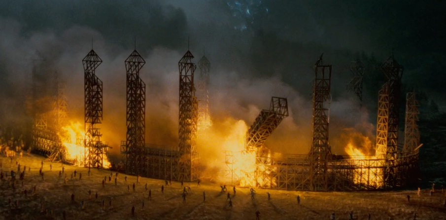 Image result for quidditch pitch on fire deathly hallows part 2