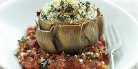 Cheese, Onion and Potato Stuffed Artichoke Hearts