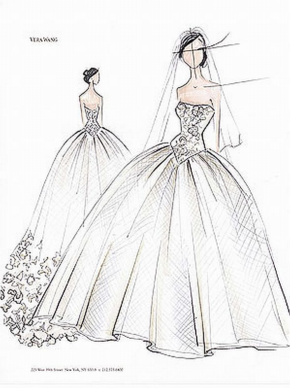 how to draw a wedding dress easy