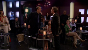 Marshall and Barney fighting for Ted's bestfrienship