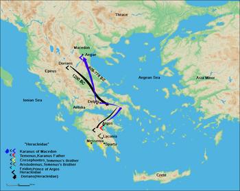 Route of Karanos to establish his own kingdom