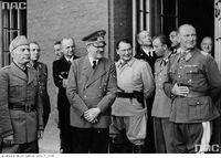 PIC 2-12190 Benito Mussolini, Martin Bormann, Karl Donitz, Adolf Hitler, Hermann Goring, Hermann Fegelein Bruno Loerzer