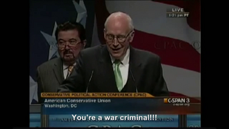 Hitler calls Dick Cheney a war criminal