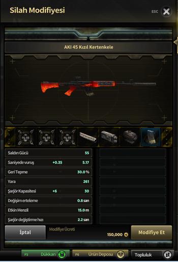 Silah ModifiyeMenüsü