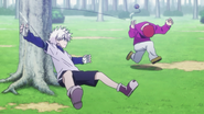 Killua hits Sub with his Yo-yo