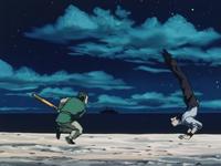 Kenmi dodging Tonpa's attack (1999 anime)