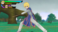 Kurapika fighting with his bokken swords