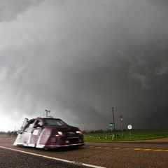 A Tornado Intercept Vehicle observes a tornado near Bowdle, SD on May 25, 2010