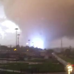 A strong tornado tears through a powerline in 2011