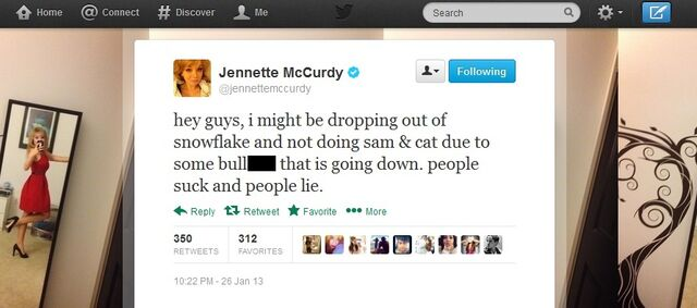 File:Jennette's tweet about possibly not doing S&C Jan 26, 2013.jpg