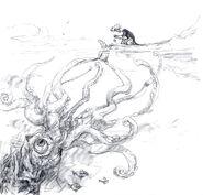 Granny's pet Squid concept art