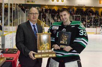 Nathan Park accepting Top Goaltender Award