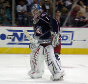 Hockey player in dark blue uniform and goaltender's gear. He stands on the ice with his hands on thighs; the left hand holds a hockey stick parallel to the rink.